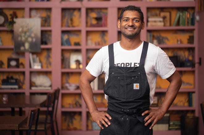 Junior sous-chef Matt Larkin at Chapman's Eat Market in German Village.