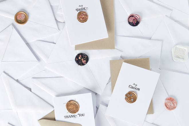 An assortment of wax seals available through The Paper Vow.