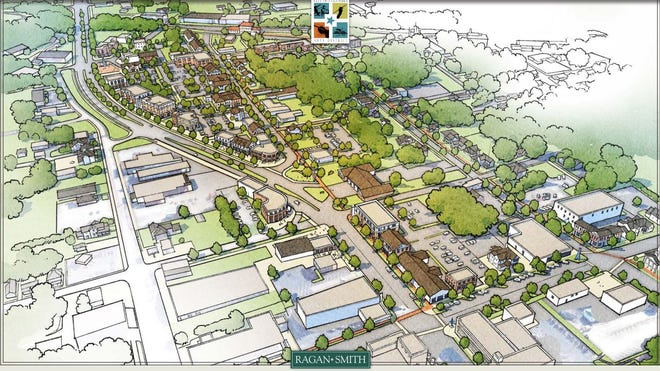 A rendering of the fully-developed Columbia Arts District as found in its master plan, which was adopted by the city in 2019 to oversee expansions over the next 10-15 years.