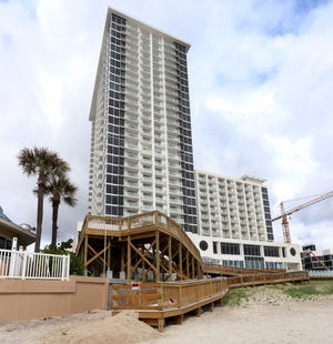 Although the long-awaited Protogroup hotel, Daytona Grande, had its soft opening this week, pedestrian beach access and other amenities aren't yet available. The hotel is part of the much-delayed $192 million Protogroup twin-tower hotel-condominium project, the bigesst most expensive development in Daytona Beach history.
