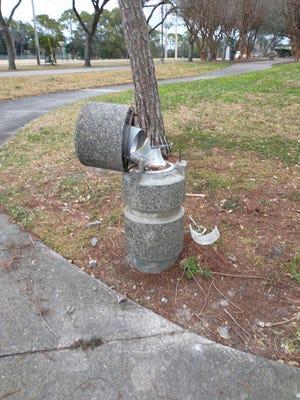 Vandalized path lights around Port Orange City Center in February.