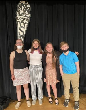 Wallenpaupack NJHS officers, from left: Emily Brown (Communications Chair); Sarah Niemiec (Secretary); Rachel VanLouvender (Vice President); Andrew Geesey (President)./ Photo contributed
