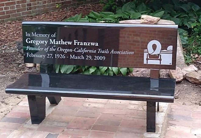 A bench to honor Oregon-California Trails Association founder Gregory Franzwa is to be dedicated Saturday.