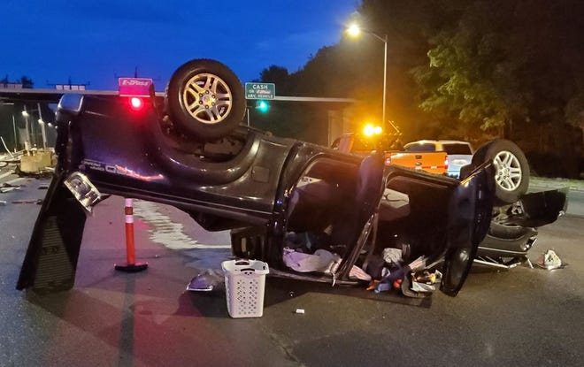 A 2006 Toyota Tundra landed on its roof after a crash sent the vehicle airborne at the Rochester Toll Plaza early morning Friday, June 4, 2021, according to state police.
