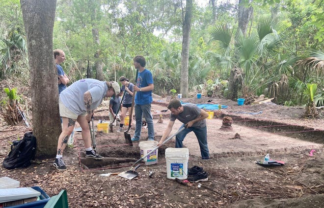 University of North Florida students dig at one of several archaeological sites at Big Talbot Island.