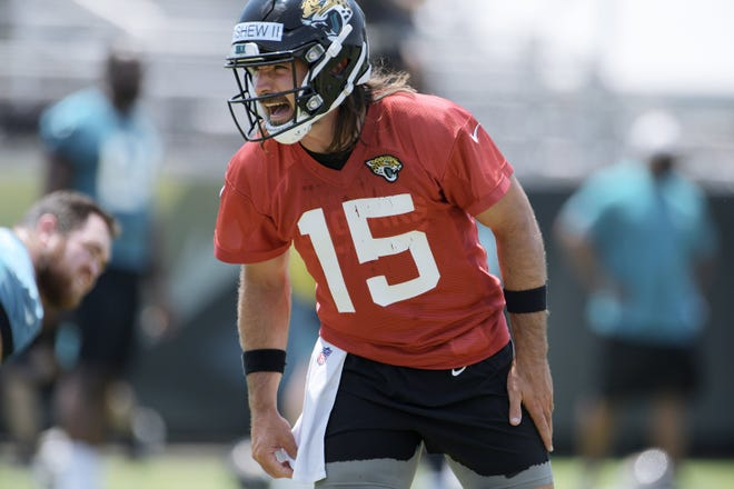 Jaguars (15) QB Gardner Minshew shouts instructions during drills at Thursday's OTA session. The Jacksonville Jaguars held their Thursday session of organized team activity at the practice fields outside TIAA Bank Field, May 27, 2021. [Bob Self/Florida Times-Union]