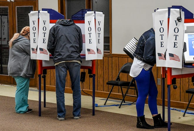 A group of local residents cast their ballots in a Ward held at the Presbyterian Church in November 2020 during the general election. There will be no August primary election in Finney County.
