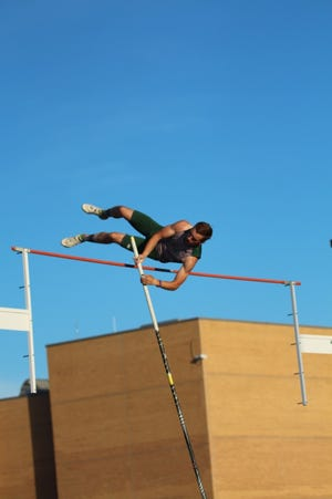 Geneseo's Malakai Schaad finished first in the pole vault at the last regular season meet for the Boys' Track Team held at Galesburg.