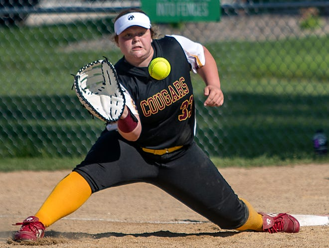 ROWVA-Williamsfield first baseman Maddie Nelson stretches for the throw on a groundout during the Cougars' 8-0 win over Stark County in the 1A regional semifinal on Thursday, June 3, 2021 in Williamsfield.