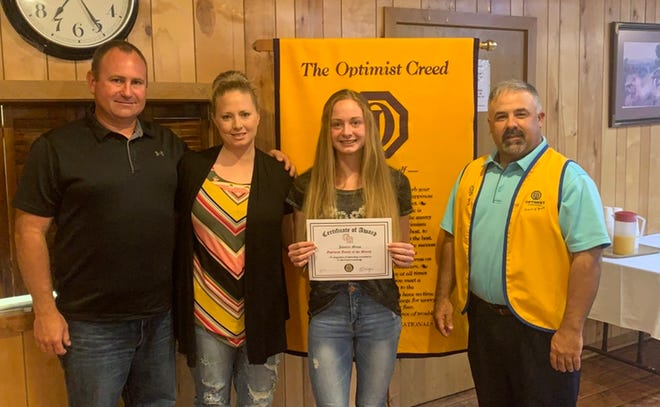 Glen Rose High School class of 2021 graduate Jocelyn Mims was named a Youth of the Month by the Glen Rose Optimist Club.
