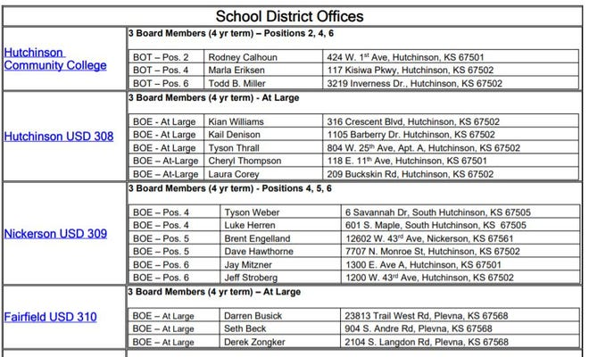 This snip from the Reno County Clerk's page shows some of the filings for school board seats in the Nov. 2, 2021 election.