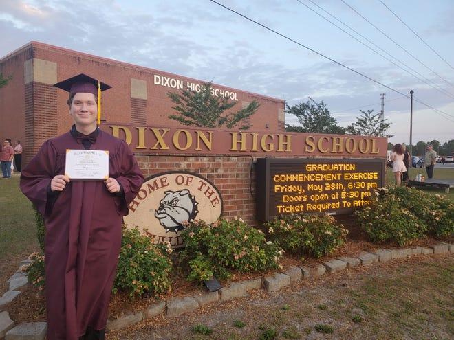 Dixon High School 2021 graduate Johnathan Flores will attend Coastal Carolina Community College in the fall.