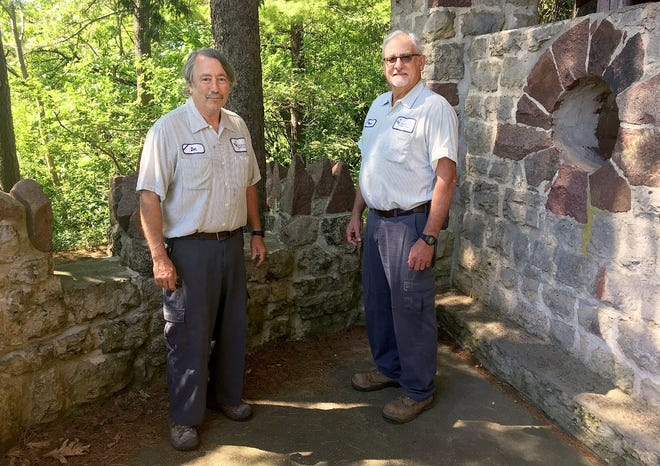Don Blomberg, left, and Merle Hull spend their last day working together at the waterfall shelter in Krape Park on Wednesday, May 26, 2021, in Freeport. Hull retired from the Freeport Park District after 25 years, with Blomberg taking his position.