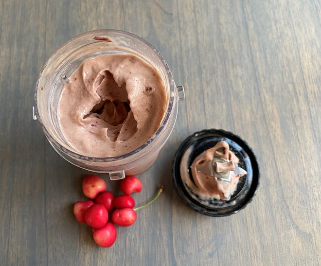 Nice cream, which is blended frozen bananas with cherries and vanilla bean, is an excellent frozen treat for anyone who has problems with dairy.