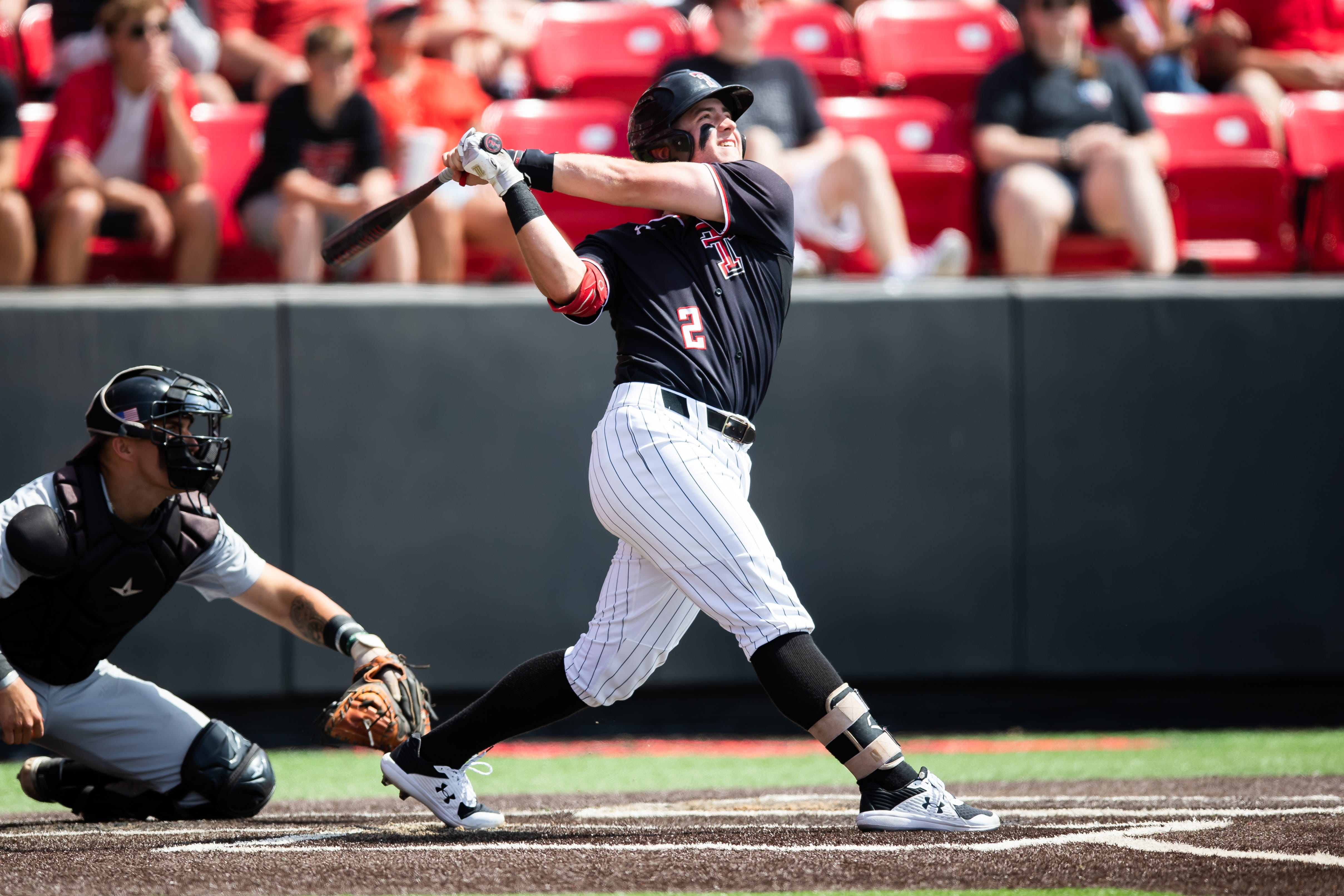Texas Tech's Jace Jung swings the bat during the opening game Friday, June 4, 2021, against Army of the NCAA Lubbock Regional at Dan Law Field at Rip Griffin Park.