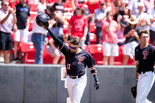 Texas Tech's Cal Conley (13) acknowledges the crowd after hitting a two-run home run in the third inning of the opening game Friday, June 4, 2021, against Army at Dan Law Field at Rip Griffin Park.