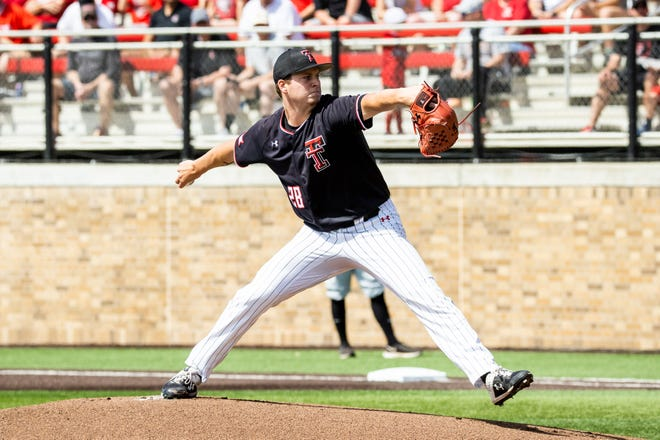Texas Tech's Chase Hampton delivers a pitch during the Red Raiders' 6-3 victory Friday against Army in the first game of the NCAA Lubbock Regional baseball tournament. Hampton struck out seven in six innings and improved to 4-0.