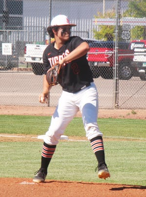 La Junta High School's Luke Garner sends a pitch to the plate in the first game of a doubleheader against St. Mary's Thursday at Potter Park.
