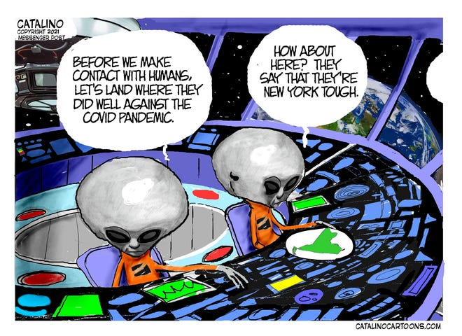 Local cartoonist Ken Catalino's take on New York and the COVID-19 pandemic.