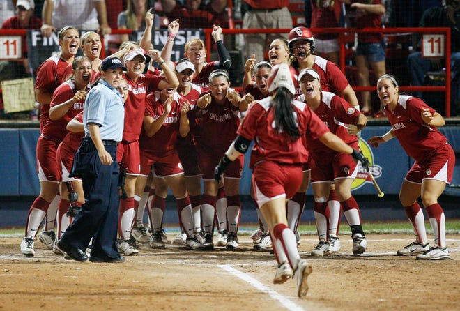 Former Oklahoma star Lauren Chamberlain, the NCAA's career home run leader, is shown during the 2012 Women's College World Series. No team has worn shorts in the WCWS since then.