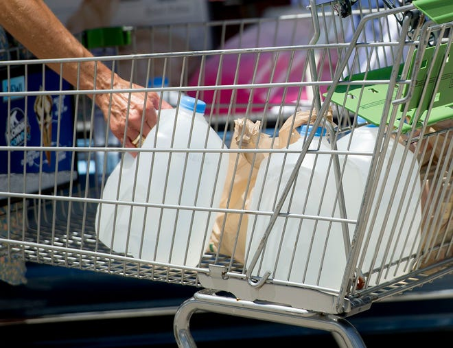 Shoppers stocked up on bottled water and ice at Publix in Palm Beach on Tuesday while a water advisory for West Palm, Palm Beach, South Palm was in effect.