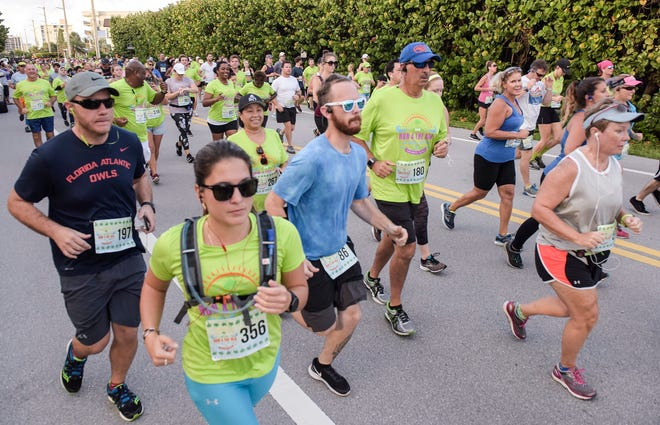 The last time that the annual Run 4 The Sea 4-mile road race was held in person was in 2019 at Loggerhead Park in Juno Beach and had more than 800 participants. This year's event is again virtual and being held over Father's Day weekend. Proceeds from the event support Loggerhead Marinelife Center's mission of sea turtle and ocean conservation. [MELANIE BELL/palmbeachpost.com]