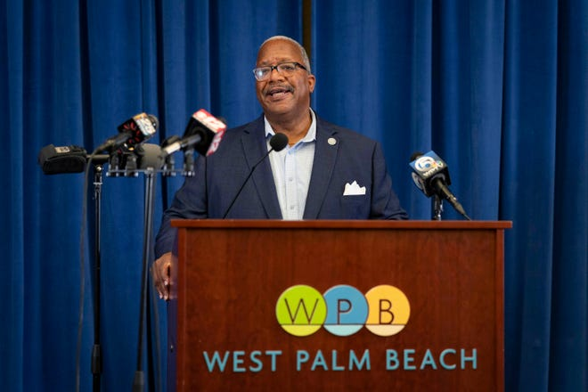 Mayor Keith James speaks at a press conference about water restrictions being lifted in West Palm Beach, Florida on June 4, 2021.