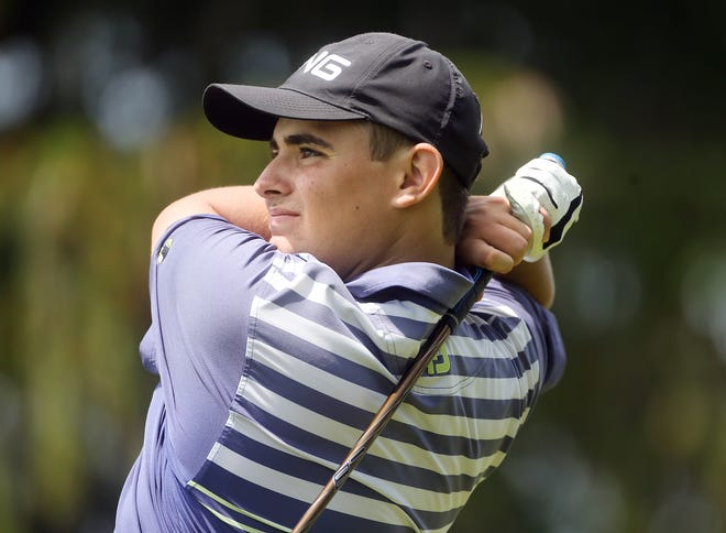 Joshua Speel of Pilgrim drives the ball off the ninth tee during the first round of the Rhode Island Interscholastic League golf championships on Tuesday.