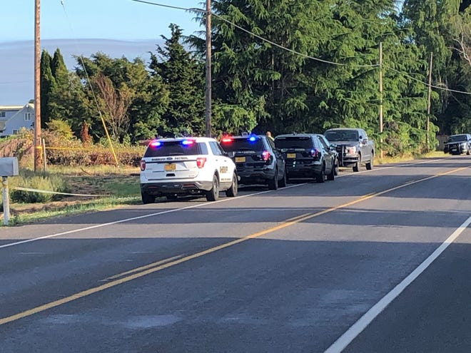Officers respond to a motorcycle crash on River Road southeast of Junction City.