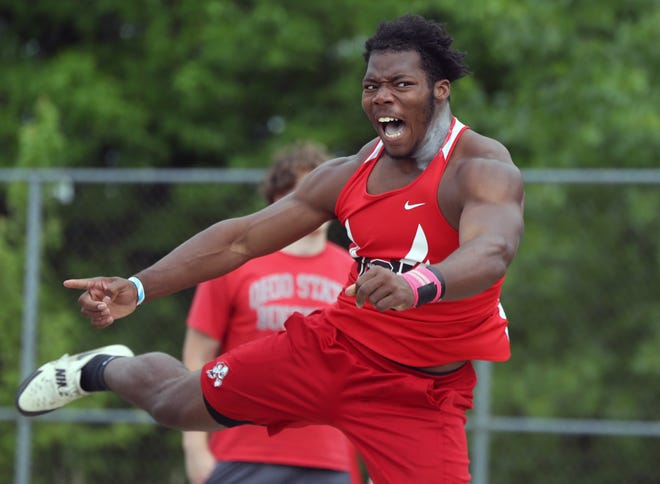 McKinley's Mani Powell competes in the shot put Friday at the OHSAA Division I State Track and Field Championships.