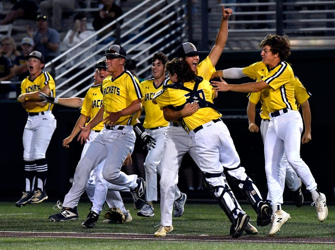 Members of the Stephenville High School Yellow Jackets celebrate their win during Thursday's Region I-4A final game against Argyle at Abilene Christian University on Thursday. The Jackets won 6-1 to earn the first state berth in program history.