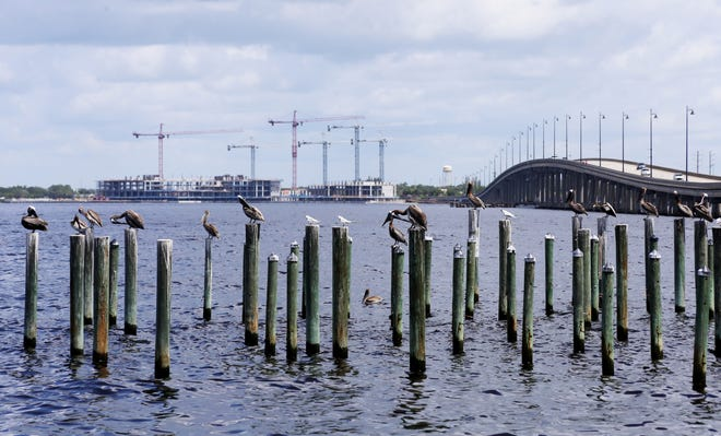 This file photo from July 2020, shows the abandoned SunSeeker Resort project across Charlotte Harbor from Punta Gorda.