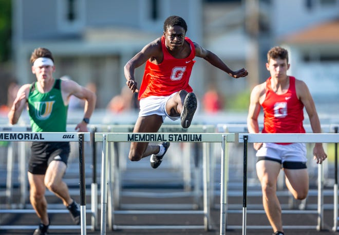Glenwood's Adepoju Arogundade wins the 110m Hurdles during the Boys Central State Eight Track & Field Meet at Memorial Stadium in Springfield, Ill., Thursday, June 3, 2021. [Justin L. Fowler/The State Journal-Register]