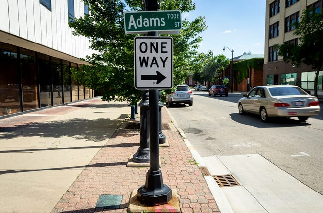 The cty of Springfield is seeking approval from the Illinois Department of Transportation to open Adams Street between Sixth and Ninth streets and a majority of Fourth Street in the downtown area to multi-directional traffic patterns. [Justin L. Fowler/The State Journal-Register]