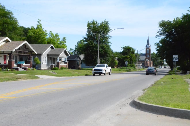 Kickapoo, looking north toward St. Benedict Catholic Church, in Shawnee.