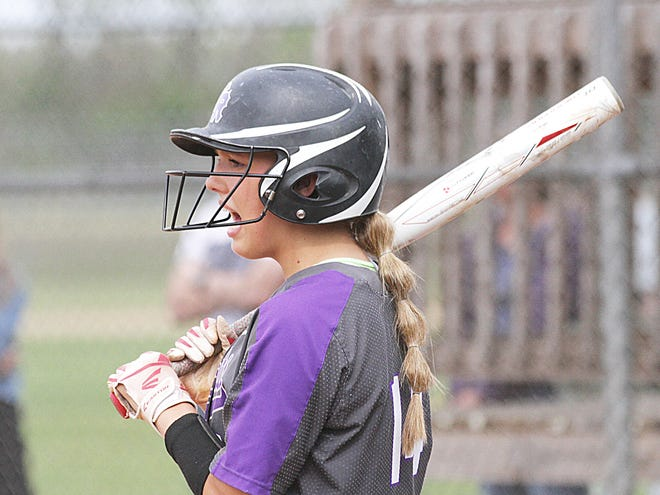 Shantel Blyly shouts encouragement from the on-deck circle during a game for Three Rivers earlier this year.