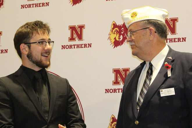Joseph Gebel of Mitchell was elected governor at Boys State this week at Northern State University. He took some time to thank American Legion State Commander Fred Nelson for providing a great experience.