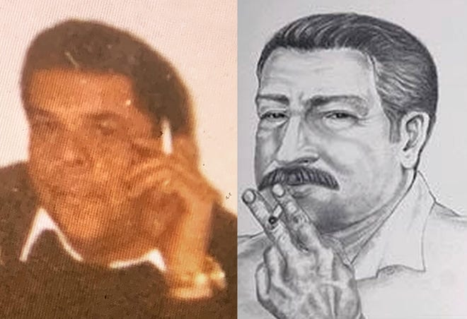 Francis P. Sumner Sr., left, and a police sketch of a person of interest.