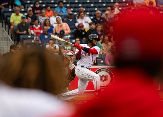 Franchy Cordero, shown here during a recent home game, doubled home Jarren Duran in the fourth inning of the WooSox' Sunday loss at Lehigh Valley.