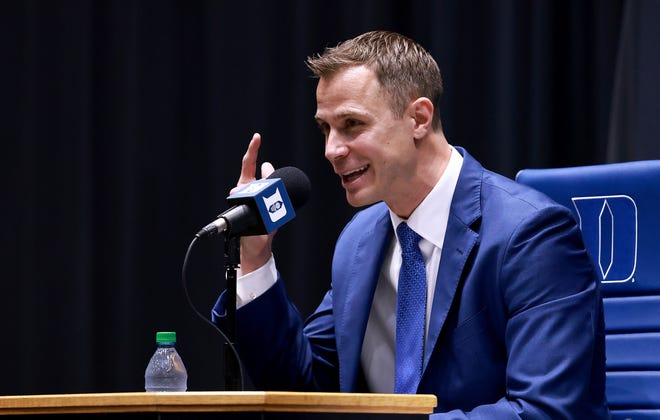 DURHAM, NORTH CAROLINA - JUNE 04: Jon Scheyer speaks after being named the 20th coach of the Duke Blue Devils during a press conference at Cameron Indoor Stadium on June 04, 2021 in Durham, North Carolina. (Photo by Grant Halverson/Getty Images)