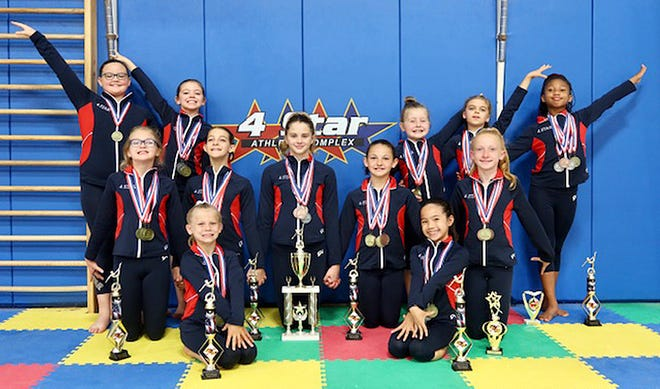 4 Star Gymnastics, based in Williamsport, celebrated several all-around and individual state champions. Pictured from left to right: Sitting —Ellory Fowler and Mckayla Canlas. Kneeling — Addison Goetz, Rory Martin, Isidora McCarty, Abigail Dilland Olyvya Morgan. Standing — Kira Johnson, Lilyann Claypool, Breleigh Shifler, Brooklyn Smithand Shyla Burnett. Not pictured —Kayden Kettoman, Kambriah Watsonand Kambry Gillis.