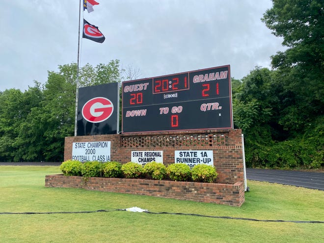 The scoreboard at Graham High School honors the Class of 2021 during Friday morning's graduation.