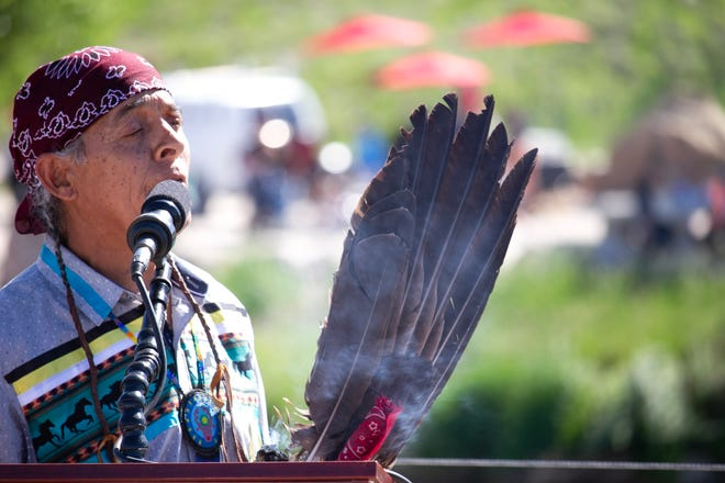 Tomas Shash, a Mescalero Apache and Southern Cheyenne Native American Elder, led a Native American blessing and song to bless the levee and attendees. Photos captured June 3, 2021.