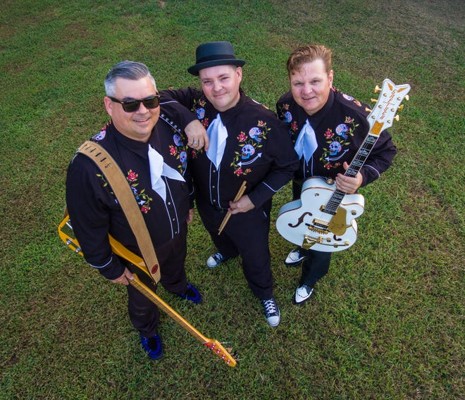 """The Boss Tweeds (Brad Birchfield, left, on vocals and bass, Jody Birchfield on vocals and drums/percussion, and Joe Hamilton on vocals and guitars) will perform at """"The Local Color Radio Hour,"""" July 10 at theHarry E. Kelley Riverfront Amphitheater in downtown Fort Smith."""