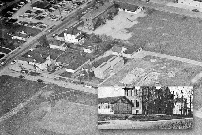 The old Broadview School at Fifth and Broadview avenues is shown in this 1954 aerial photo. The building was used by the Grandview Heights school district for the 1917-18 school year to accommodate the overflow of students in the district's other buildings, due to the tremendous growth of the area.