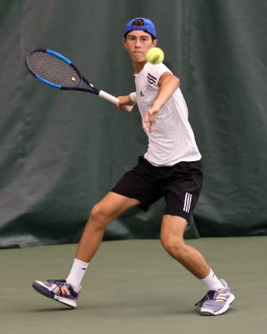Wellington senior Griffin Biernat competes inthe Division II state tournament May 28 at Camargo Racquet Club in Cincinnati. Biernat lost 6-2, 6-3 to eventual champion Andrew Zimcosky of Chagrin Falls after a first-round victory.