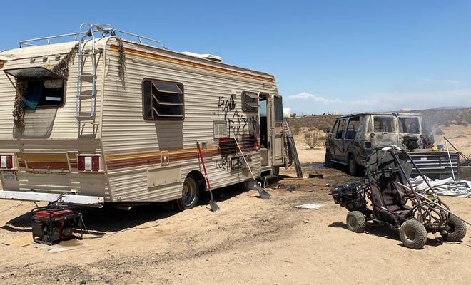 Barstow Fire Protection District personnel made quick work of an open-desert van fire in Lenwood on Thursday, June 3, 2021. Authorities believe the van was part of a homeless encampment.