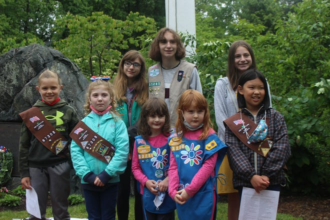 Girl Scouts during the Memorial Day observances in Weston.