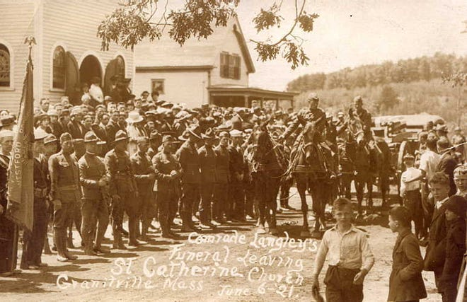 """The funeral of Pvt. Aldat Joseph Langley, who died in France on May 5, 1918, was held """"with full military honors"""" at St. Catherine's Church on June 6, 1921."""