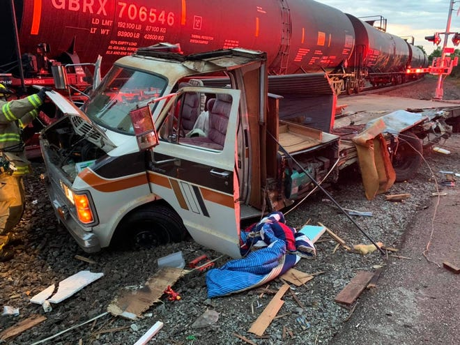 A train crashed into a camper that stalled on the tracks in Fox Crossing on Thursday, June 3. No one was injured.
